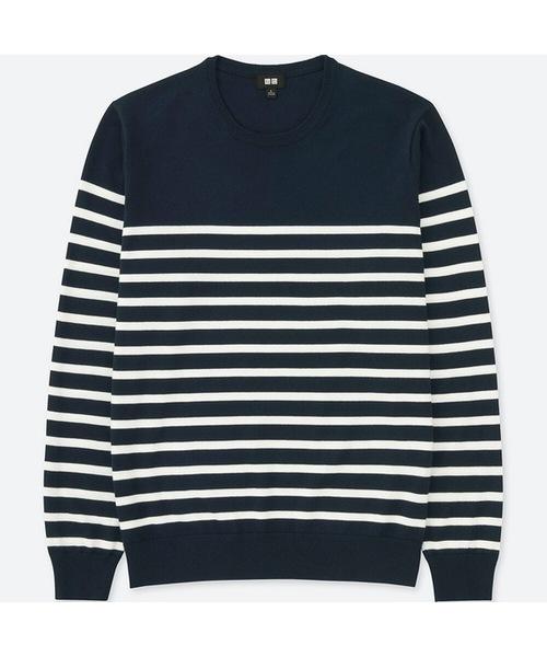 ウォッシャブルボーダークルーネックセーター(長袖)
