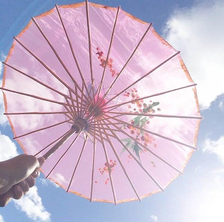 ① 日傘で完全に太陽を遮断!