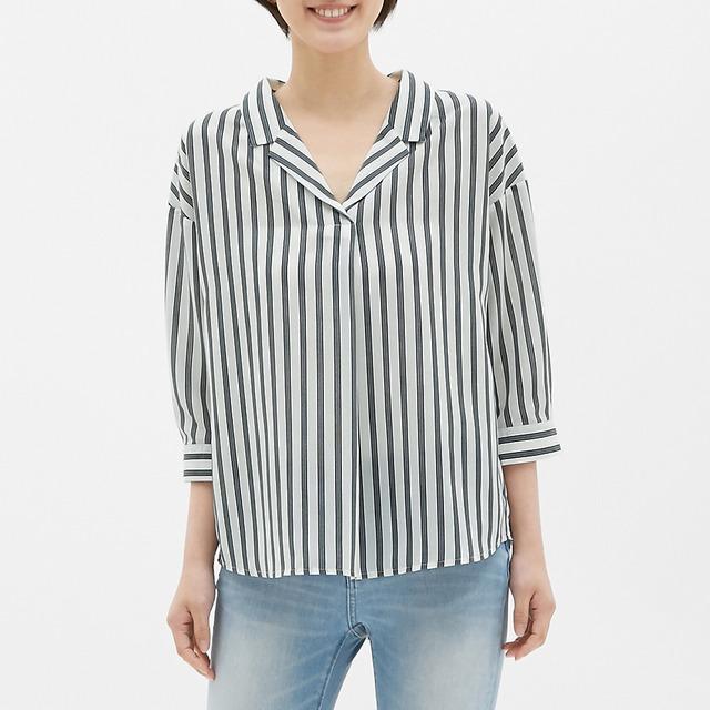 ストライプオープンカラーシャツ(7分袖)SB